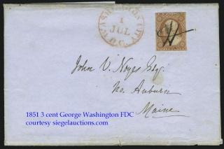 1851 3 cent George Washington FDC